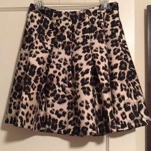 DVF Gemma Cheetah-Print A-Line Skirt, Cream